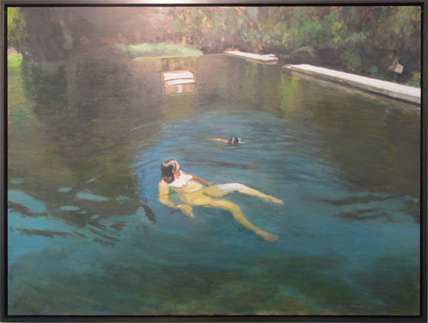Woman (self-portrait) with daughter, swimming