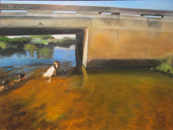 Under the bridge (self-portrait with the artist's children)