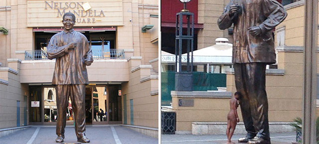 Naked Woman Caresses iconic Nelson Mandela Statue