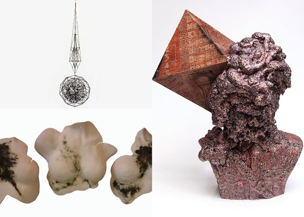 From top left: Dirk Bahmann, Connection to Place 5. Wire Sculpture; Dale Washkansky, Glitter Sculpture; Mirella Bandini, She - Her - Me.